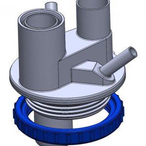 "3D CAD RenderingComponent for ventilator splitting circuit  ""Cerberus"""